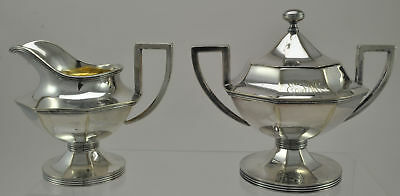 Antique Barbour Octagonal Silver Plate Creamer and Sugar Bowl
