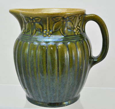 Ribbed Green Glazed Yellow Ware Pitcher 1920s
