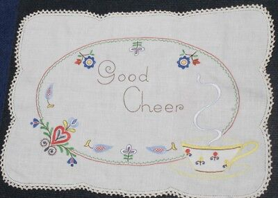 VINTAGE Traycloth, a Morning GREETING to a Loved One, Hand Worked, Cup & Saucer