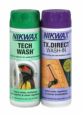 Nikwax Tech Wash & Tx Direct 300ml Pack Doble Limpieza Impermeable Exterior Ropa
