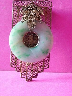 Antique Chinese Jade Stone Clip Brooch