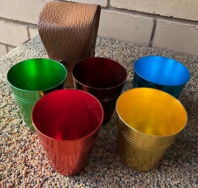 Original Vintage coloured ANODISED CUPS in LEATHER CASE retro picnic car