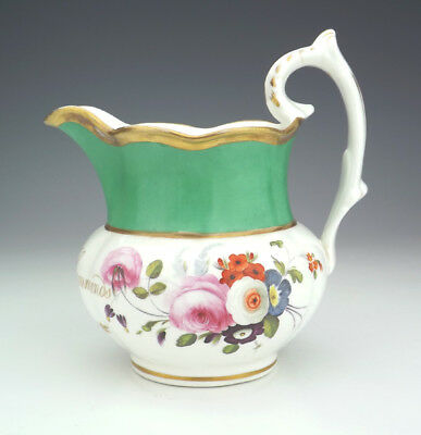Antique English Pottery - Hand Painted Flowers 1840 Christening Jug - Unusual!