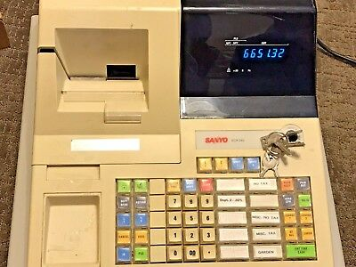 Sanyo ECR-340 cash register working with keys,.Has paper. Ribbon is light