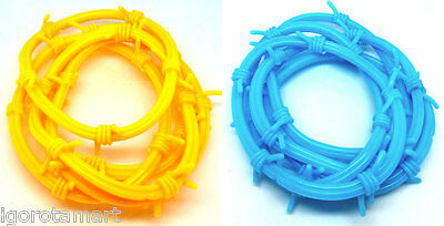 Pack Of 2 Yellow 2 Blue Men Women's Barb Barbed Wire Rubber Wrist Bracelets