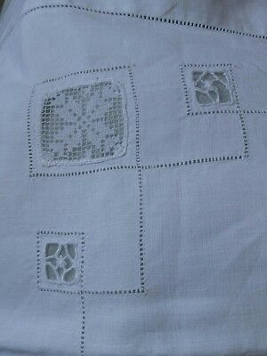 Vintage pure white linen and lace pillowcases