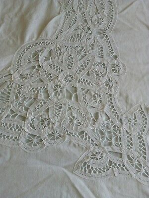 Vintage pure white linen tape work table cloth/bedspread