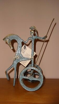 Collectable Brass Metal Achilles Gladiator Trojan Statue On Chariot Cart Mint!