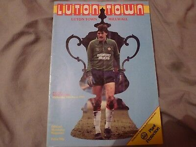 Luton v Millwall 1985 FA Cup programme