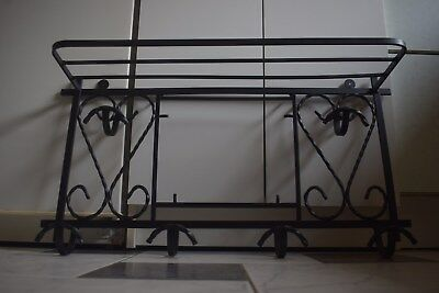 Antique French Design Wrought Steel Hat and Coat Hanger, hooks, Rail Rack Stands