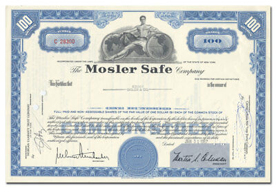 Mosler Safe Company Stock Certificate