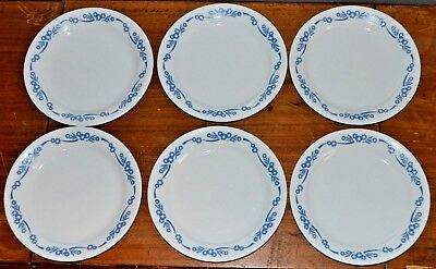 "Lot of Six Vintage CORELLE BLUE CORNFLOWER 7.25"" PLATES Corning Salad Dessert"