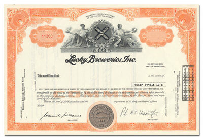 Lucky Breweries, Inc. Stock Certificate (Lucky Lager)