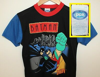 Batman and Robin vtg youth tee size 14 black 90s 1995 DC Comics superhero