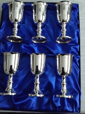 A Wnderful Set Of Six Solid Silver  Wine Goblets 750 Grams