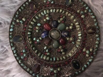 Vintage Small Charger Plate Decorated With Turquoise Indian Tibetan