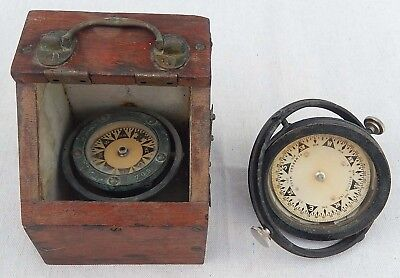 2 Antique Gimballed Ships' Compasses For Repair ES Ritchie + Even Better One