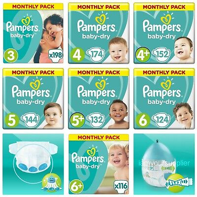 Pampers BABY DRY Nappies Diapers Size 3 4 4+ 5 5+ 6 6+ ***MONTHLY*** Mega Pack
