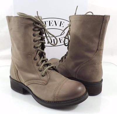 5fdff58ca31 Women s Shoes STEVE MADDEN TROPA 2-0 Lace up Combat Boots Leather Stone  Grey 10