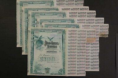 Banco Central Mexicano Accion 100$ Mexico 1902 With Stamp + Coupons X 6 Acciones