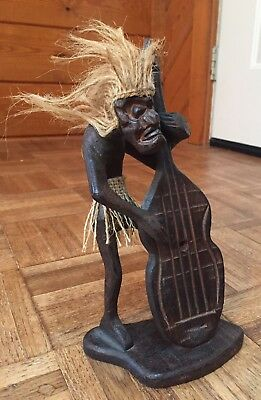 Wood African Tribal Art Statue Playing Upright Bass Instrument