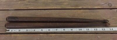 "Antique Civil War Era Pair Of Stained Pine Drum Sticks 14"" Light Weight Maine"