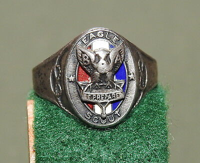 Vtg 30s BOY SCOUTS OF AMERICA BSA STERLING SILVER + ENAMEL EAGLE SCOUT RING RARE