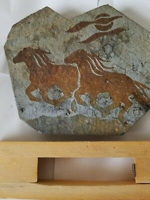 Stone Rock Slab Carved Etched Wild Horses Art Sculpture On Stand Home Decor