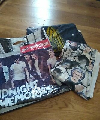 one direction flag, carrier bag and t shirt size 8