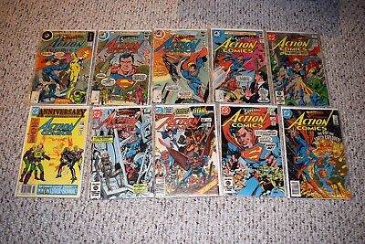 SILVER AGE SUPERMAN 10 BOOK LOT ACTION COMICS F/VF (incl #544 45th Anniversary)
