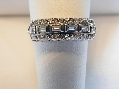 Vintage Art Deco 14K White Gold Natural Baguettes, Princess Diamond Ring
