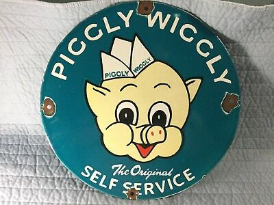"""Porcelain Piggly Wiggly Grocery Store Sign Pig Art """"not a fake"""" Real 12 inch."""