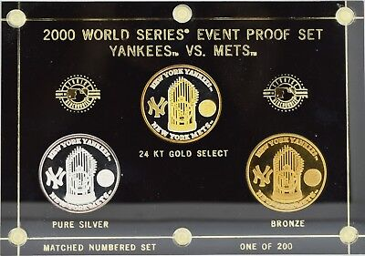 2000 World Series Yankees vs Mets Silver Bronze Limited Edition Proof Set NR