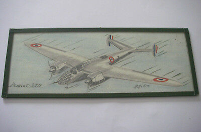 Dessin sous verre encadré / Avion AMIOT 350 armée de l'air aviation signé ROLLIN