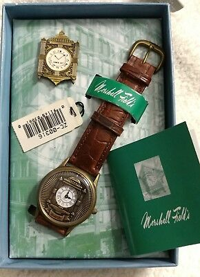 NEW! VINTAGE Marshall Field Clock Watch and  Pin By Fossil LIMITED EDITION RARE!