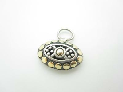 John Hardy Sterling Silver & 18k Yellow Gold Dot Oval Pendant Or Charm