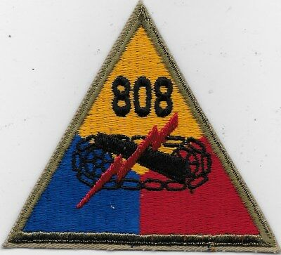 """Rare Original Wwii """"808Th Armored Regt"""" Patch - Fully Embroidered"""