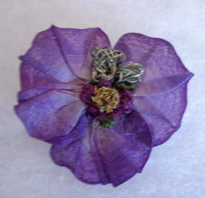 "1940's French Silk Ombre 1 3/4"" Pansy Embellished For Dolls"