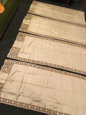 4 Antique Silk Curtain Panels c1900 EMBROIDERED Filet Bobbin Lace 54x24 STUNNING