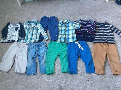 baby 12-18 months boys bundle Next H&M jeans chinos shirts top blue green F&F