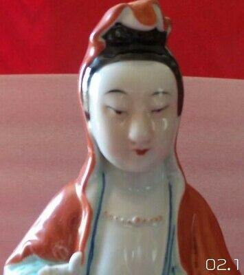 Antique Quan Kwan Yin Famille Rose Mille Fleur Statue Goddess Of Mercy Figurine