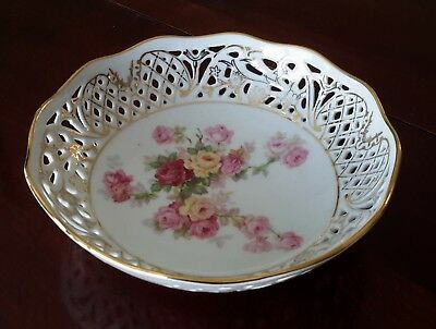 Vintage Schumann Arzberg Reticulated Victorian Rose China Bowl with Gold Trim