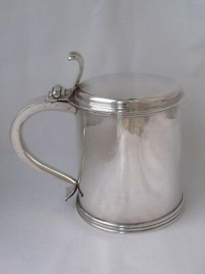 Quality Solid Sterling Silver Lidded Beer Tankard 1982/H 11.8 cm/ 582 g/ 725 ml