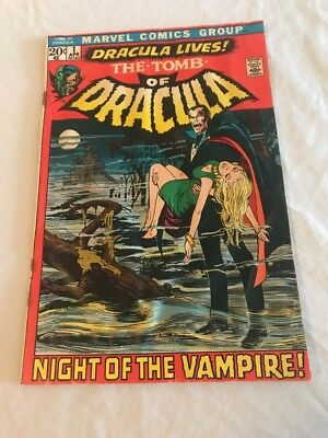 Marvel Tomb Of Dracula comic book #1 Night of the Vampire 1971 damaged