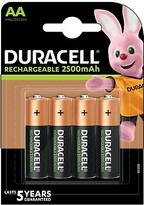 4x Duracell Ultra Rechargeable AA Batteries NiMH 2500mAh PreCharged HR6 Duralock