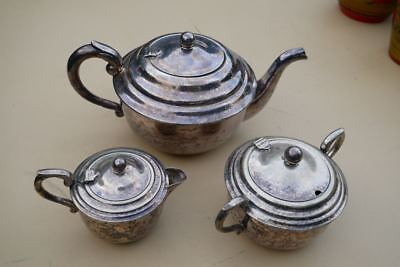 Vintage Silver HECWORTH E.P.N.S. Tea  Pot, Sugar Bowl and Milk Jug