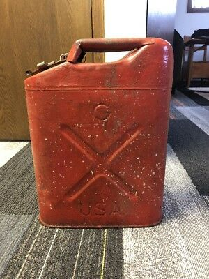 Old Red 5-gallon Metal Jerry Can