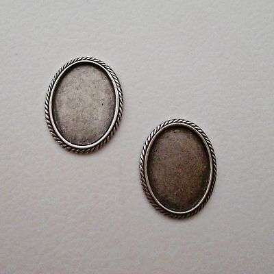 Oval Antiqued Silver~Plated Brass Cabochon Settings ~ Nice!