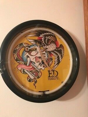 Ed Hardy Neon Wall Clock Battle Skull Eagle Snake