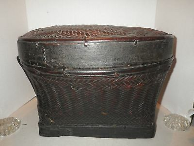 Antique Asian Woven Weave Brown Basket with Lid